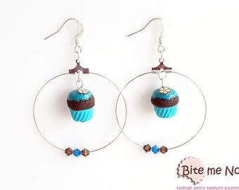 Polymer Clay Jewelry Hoops Cupcakes (brown-turquoise), Cupcake Earrings, Cupcake Jewelry, Mini Food, Polymer Clay Sweets, Miniature Food