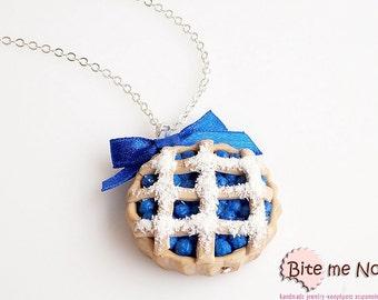 Mini Food Jewelry Blueberry Pie Necklace, Fruit Pie Pendant, Berries Tart, Forest Fruit Jewelry, Blueberries Jewelry, Food Jewelry, Kawaii