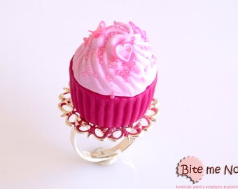 SCENTED Food Jewelry Hot Pink Cupcake Ring, Miniature Food, Polymer Clay Sweets, Mini Food, Kawaii Jewelry, Foodie Gift, Valentine's day
