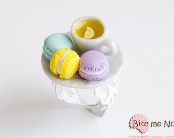 Food Jewelry Tea with French Macarons Ring, Macaron Ring, Macaron Jewelry, Pastel Macarons, French Macarons, Mini Food, Kawaii Jewelry