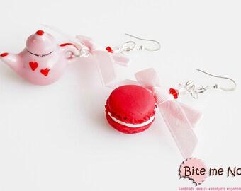 Food Jewelry Tea Pot and Macaron Earrings, Tea Pot Hook Earrings, Ceramic Tea Pot Earrings, Mini Macaron Earrings, Macaron Jewelry