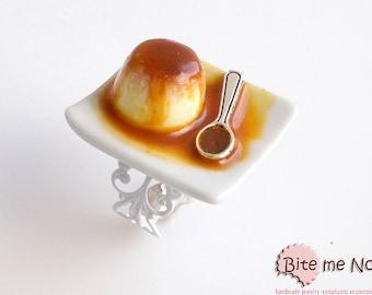 Food Jewelry Creme caramel Ring, Miniature Food, Handmade Ring, Polymer Clay Sweets, Mini Food, Kawaii Jewelry, Foodie Gift