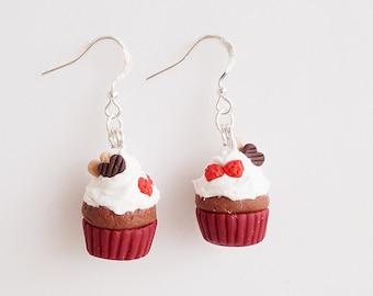 Mini Food Valentine Fruit and Chocolate Cupcakes Hook Earrings, Miniature Food Jewelry, Polymer Clay Sweets, Kawaii Jewelry, Cute Earrings