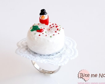 Food Jewelry Snowman Christmas Cake Ring, Miniature Food, Polymer clay Sweets, Mini Food Jewelry, Festive Ring, Miniature Cake, Gift