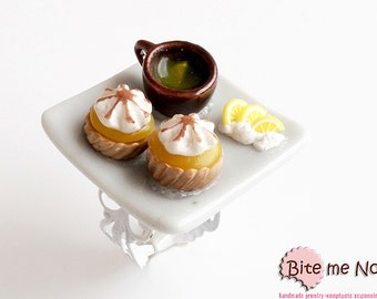 Food Jewelry Lemon Tarts and Lemon Tea Ring,  Miniature Food, Handmade Ring, Polymer Clay Sweets, Mini Food, Kawaii Jewelry,Foodie Gift