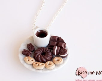Food Jewelry Coffee and Assorted Biscuits Necklace, Miniature Food, Polymer clay Sweets, Mini Food Jewelry, Kawaii Jewelry, Miniature Charm