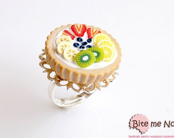 Food Jewelry Fruit Tart Ring, Assorted Fruit Tart, Miniature Food, Dessert Ring, Polymer Clay Sweets, Mini Food, Kawaii Jewelry, BF Sale
