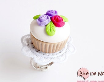 Food Jewelry Spring Cupcake Ring, Miniature Food, Handmade Ring, Polymer Clay Sweets, Mini Food, Kawaii Jewelry, Foodie Gift