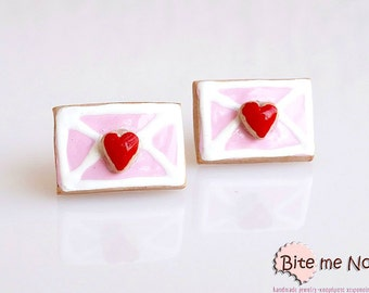 Food Jewelry Love Letter Biscuits Stud Earrings, Valentine's Day, Miniature Sweets, Kawaii Jewelry, Mini Food Jewelry, Cute Jewelry