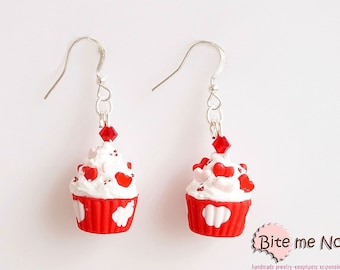 Polymer Clay Jewelry Creamy Cupcakes with Heart Candies Hook Earrings - Miniature Food Jewelry, Kawaii Jewelry, Miniature Sweet,Cute Jewelry