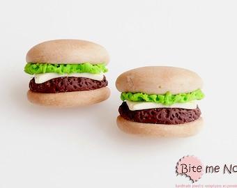 Mini Food Burgers Studs, Cheeseburger Earrings, Fast Food Jewelry, Miniature Food Jewelry, Polymer Clay Food, Fake Food