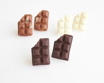 Mini Sweets Chocolate Bars Earrings, Chocolate Studs, Mini Chocolates, Mini Food Jewelry, Polymer clay sweets, Kawaii jewelry, Cute jewelry