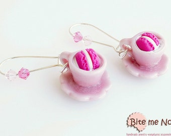 French Macarons - Ceramic Cups and Dipped Macarons Earrings, Kidney Earrings, Mini Food, Polymer clay Sweets, Macaron Jewelry, Foodie Gift