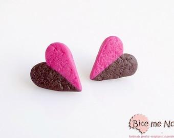 Choco-Strawberry Biscuits Stud Earrings, Double Flavor Cookies, Chocolate Cookies Posts, Strawberry Cookies, Biscuits Earrings, Food Jewelry