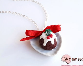 Food Jewelry Christmas Pudding Necklace,Miniature Food Necklace,Miniature Food, Mini Food Jewlery,Handmade Jewelry,Christmas Jewelry,Kawaii