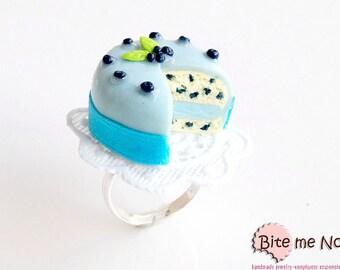 Blueberry Cake Ring, Blueberry Torte, Blueberries Jewelry, Cake Jewelry, Forest Fruit, Berries Jewelry, Dessert Ring, Food Jewelry