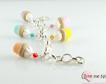 Miniature Food Colorful Cupcakes Bracelet , Food Jewelry, Polymer Clay Sweets, Handmade Bracelet, Mini Food, Kawaii Jewelry, Foodie Gift