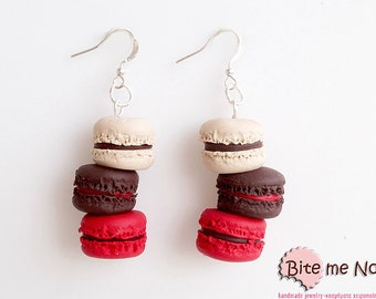 Polymer Clay Jewelry Macarons Tower Hook Earrings, Mini Food, Handmade Earrings, Polymer Clay Sweets, Miniature Food, Foodie, Kawaii Jewelry