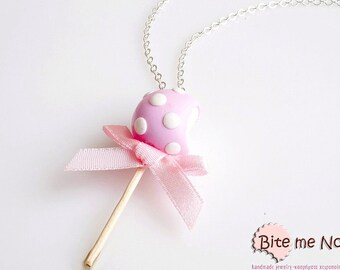 Mini Food Cake Pop Necklace, Miniature Food Jewelry, Cake Necklace, Food Jewelry, Cake Pop Jewelry, Candy Jewelry