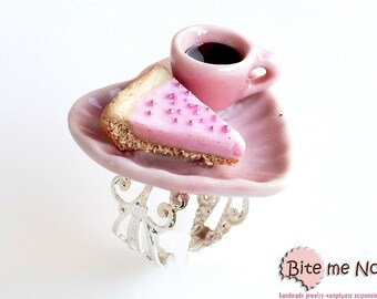 Mini Food Tart and Coffee on a Plate Ring, Tart Ring, Mini Tart, Food Jewelry, Kawaii Jewelry, Cute Jewelry, Coffee Ring
