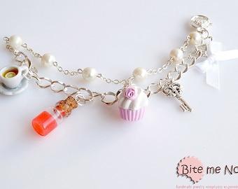 Mini Food Jewelry Alice in Wonderland Bracelet  - Miniature Food, Handmade Bracelet, Polymer Clay Jewelry, Cute Jewelry, Kawaii Jewelry