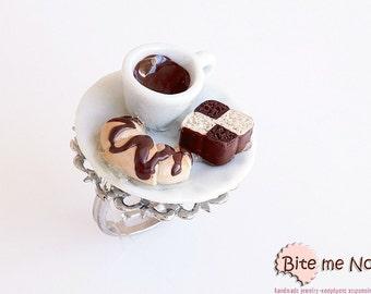 Food Jewelry Coffee Croissant and Cake Ring, Miniature Food, Handmade Ring, Polymer Clay Sweets, Mini Food, Kawaii Jewelry, Foodie Gift