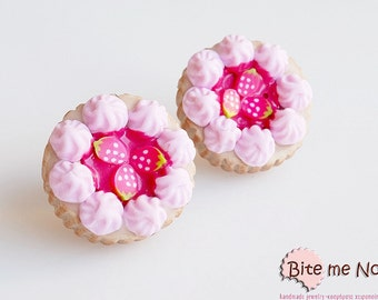 Polymer Clay Jewelry Fruit Tarts Post Earrings, Fruit Studs, Mini Food Studs, Fruit Earrings, Fruit Jewelry, Miniature Food, Kawaii Jewelry