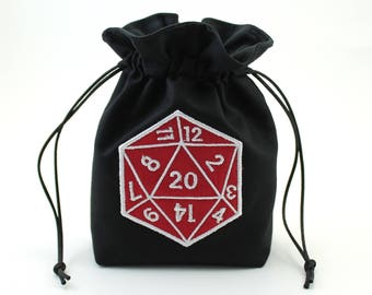 D20 Die Dice Bag, Drawstring Bag