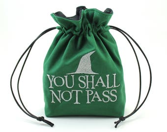 You Shall Not Pass Wizard LOTR Dice Bag, Drawstring Bag