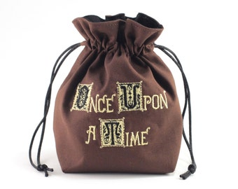 Once Upon a Time Story Book Dice Bag, Drawstring Bag