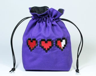 Pixel Heart Dice Bag, Drawstring Bag