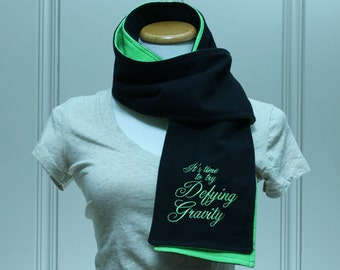 Wicked Defying Gravity Black and Green Flannel Scarf