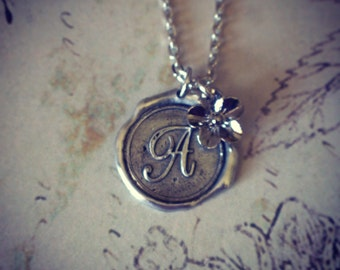 WAX SEAL PENDANT Antique Silver Necklace and Flower Charm