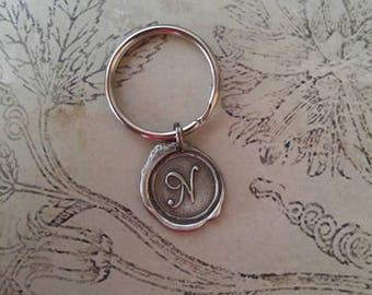 WAX SEAL PENDANT Antique Silver Key Ring (choose a letter)