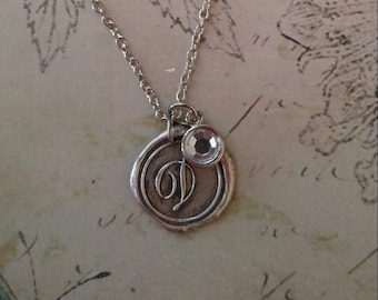 WAX SEAL MONOGRAM Silver Necklace and Crystal Charm (choose your letter)