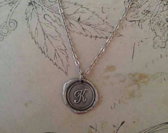WAX SEAL MONOGRAM Silver Necklace (choose your letter)