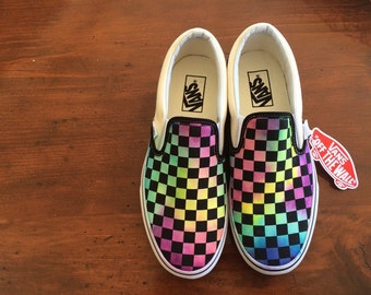2070fb22294f05 Tie Dye Watercolor Checkerboard Vans