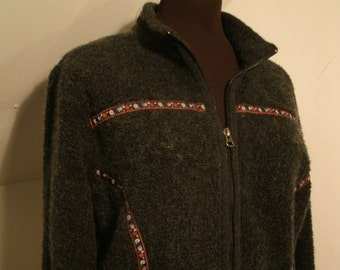 LL Bean Mohair Blend Knit Sweater Jacket Zipper Up Gray Floral Ribbon Trim Stand Up Collar Soft Warm Light Fleece Coat Women's Size L Large