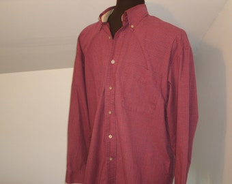 Vintage Men's Haggar Plaid Shirt Cotton Long Sleeve Button Down Collar Front Pocket Size M Medium