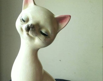 Mid Century Ceramic Vintage Cat Figurine Large Tall Retro Decor Hand Painted Sitting Siamese Statue Cream White Gray Grey Pink Made In Japan