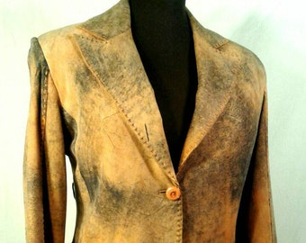 Gian Mori Suede Buckskin Leather Jacket Distressed Dyed Blue Tan Woven Quality Designer Coat Made In Turkey Women's Medium Small