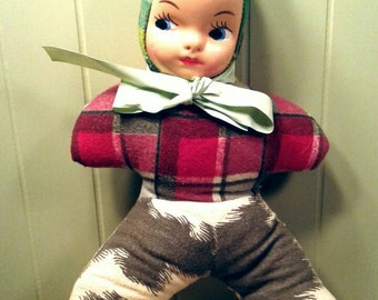 Original Vintage 1940's 1950's Soft Stuffed Body Flannel Fabric Doll Composite Painted Face Girl's Or Boy's Toys Unisex Googly Sideways Eyes