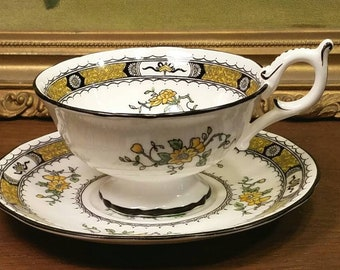 Coalport English Porcelain Fine China Teacup Cup Saucer Set French Noble Pattern Hand Painted Yellow Gold White Black Made In England