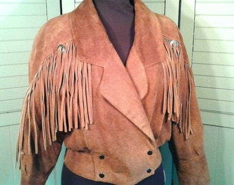 Vintage Fringed Suede Leather Cropped Jacket Tan Cinnamon Brown Silver Conchos Western Motorcycle Biker Hipster Yearbook Women's Size Small