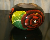 Turned Wood Bowl Hand Painted Black Red Flower Green Leaf Bohemian Mexican Vintage Treen Ware Floral Folk Art Wooden Dish