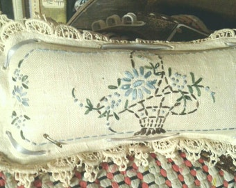 Antique Pillow Pincushion Homespun Linen Handmade Lace Embroidered Basket Flowers Ribbon Tied Sawdust Sewing Notion Vintage Victorian Decor