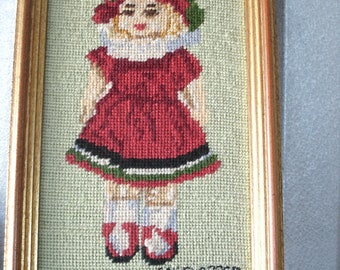 Dated 1922  Antique  Needlepoint Girl In Red Dress With Hat Framed Handmade Fabric Art Art Deco Toys Dolls