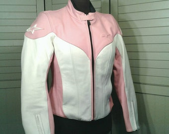 Stella Alpinestars Pink White Leather Motorcycle Jacket Road Sport Tech Touring Moto Gear New Condition Women's Size Medium