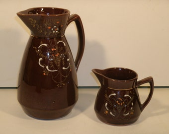Retro Redware Set Large And Small Pitcher Brown Glaze Hand Painted Gold Raised Enamel Floral Bouquet Vintage 1940's Serving Dishes
