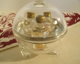 Art Deco 1930's Duvinne Globe Perfume Bottle Set Of Three Orb Shape Clear Glass Round Space Age Small Scent Bottles Gardenia Lilac Sweet Pea